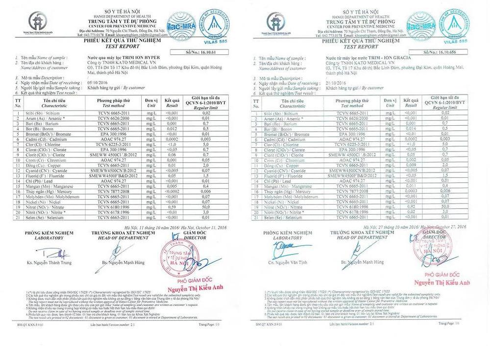 Kết quả test nước sở y tế Hà Nôi - HYPER và GRACIA