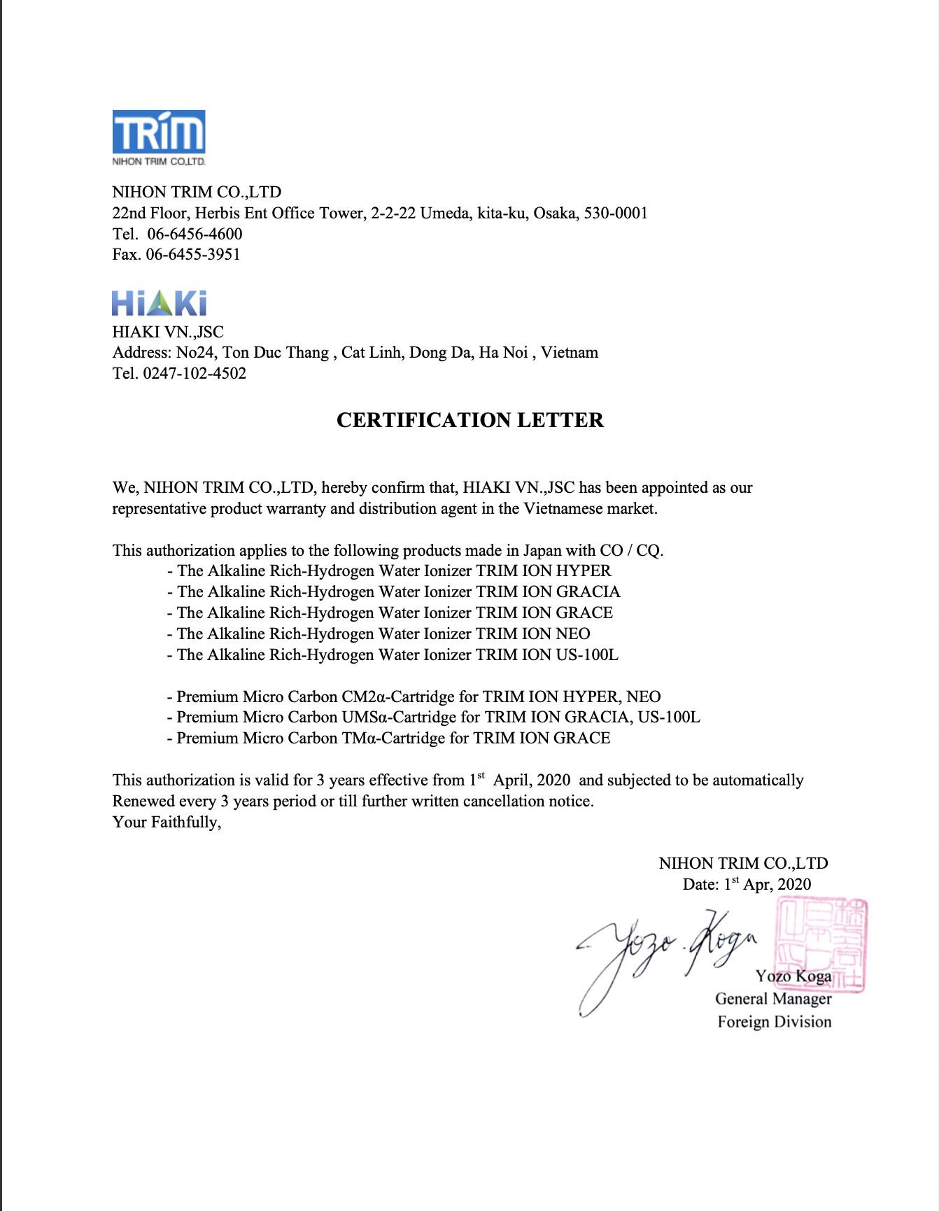 chứng nhận phân phối trim ion